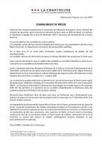Communiqué de presse du Président de la Chartreuse