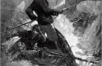 Achab lors de la chasse finale de Moby Dick - Melville